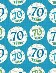Image Is Loading 2 Sheets Gift Wrapping Paper HAPPY 70th BIRTHDAY