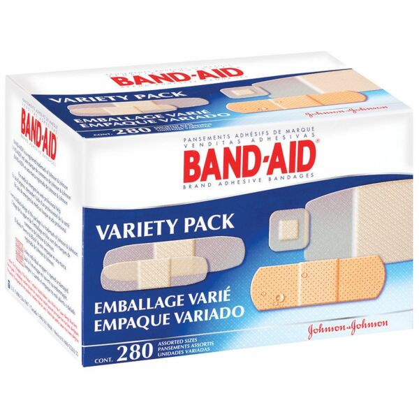 (280 ASSORTED) BAND-AID PREMIUM FAMILY/VARIETY PACK BANDAGE 4-DIFFERENT BANDAGES