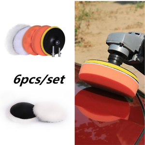 Drill Adapter 6Pcs Sponge Polishing Waxing Buffing Pads Kit Compound Auto Car