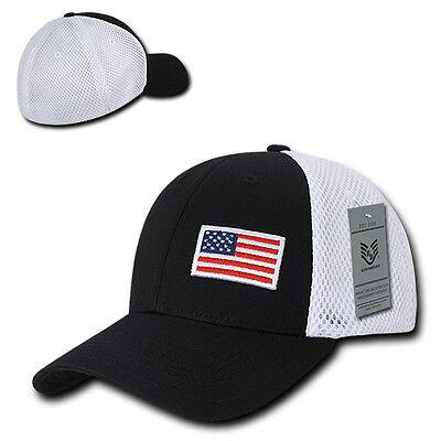 f36f7524c28 Black USA US American Flag Low Crown Structured Mesh Flex Baseball ...