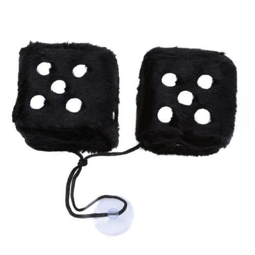 2 Premium Large Fuzzy Plush Rearview Mirror Hang Dice for Car-Truck-Auto  LT