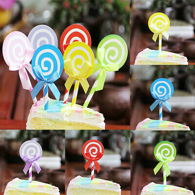 6PCS Multicolor Bowknot Lollipop Cake Topper Party Cupcake Dessert Insert Cards