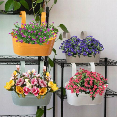 1PC Oval Metal Plant Flower Pot Fence Balcony Garden Hanging Planter Pots Decor
