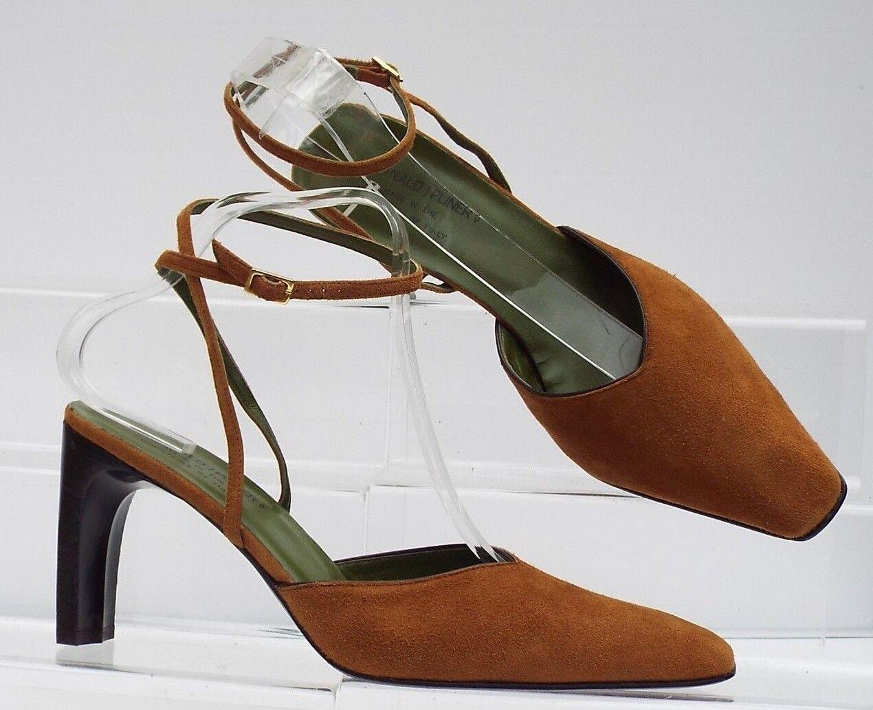 Donald J Pliner  8 M 6 39 all leather braun tan ginger high heel designer