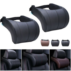 2PC-Leather-Seat-Headrest-Pad-Auto-Car-Travel-Relax-Neck-Rest-Memory-Foam