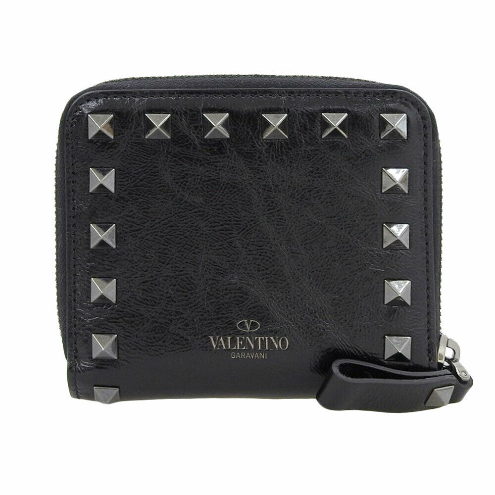 Valentino Compact zipper wallet wallet leather black