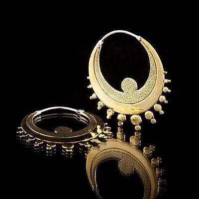 FINE BRASS TRIBAL BOHO EARRING FUNKY MANDALA GYPSY HOOP ETHNIC EARRINGS HANDMADE
