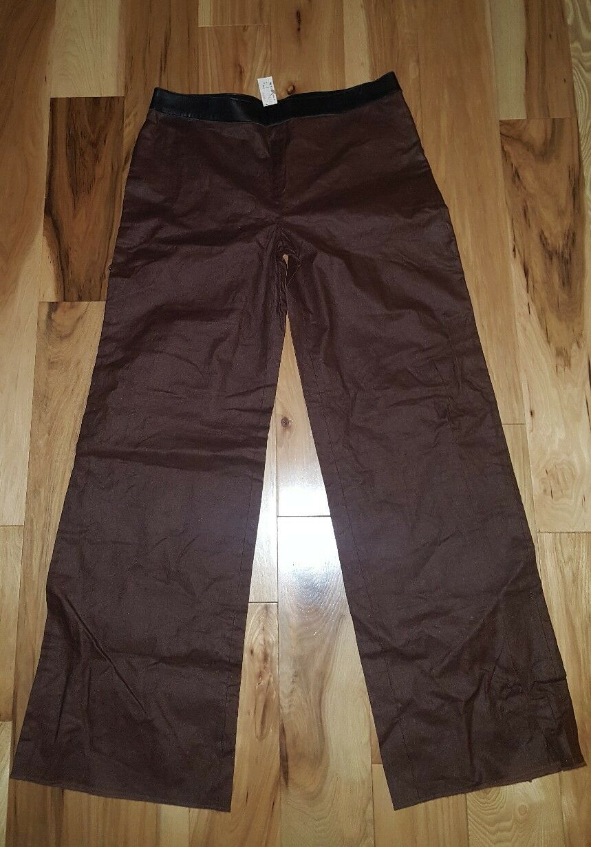 NWT Krizia Brown Lino Flax flare pants Size 48 Made in  Women's