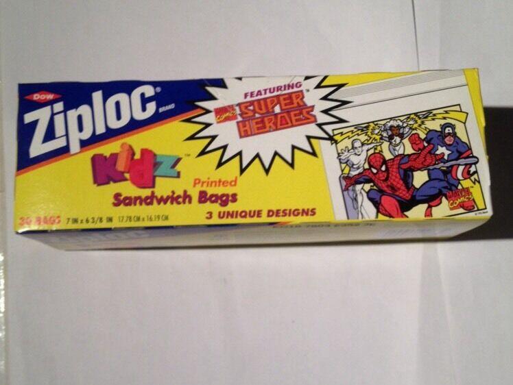 Marvel - superhelden ziploc sandwich taschen 1992
