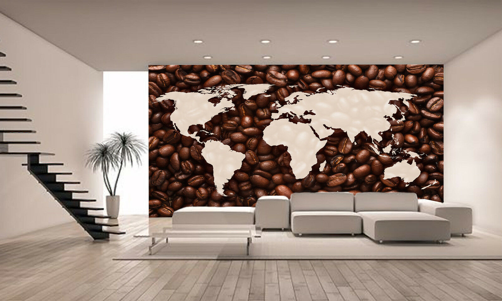World Map with Coffee Beans Wall Mural Photo Wallpaper GIANT DECOR Paper Poster