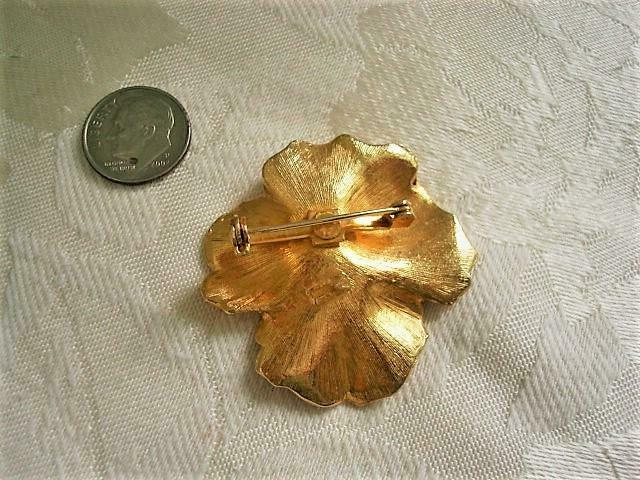 Vintage Yellow and Black Enamel Pansy Flower Pin … - image 2