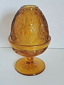 Vintage-Tiara-Indiana-Glass-Amber-Egg-Shape-Domed-Fairy-Lamp-Candle-Holder
