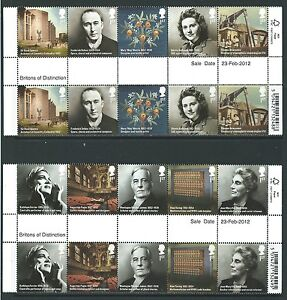 GREAT-BRITAIN-2012-BRITONS-OF-DISTINCTION-GUTTER-PAIR-SET-UNMOUNTED-MINT-MNH