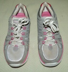 pink and white skechers