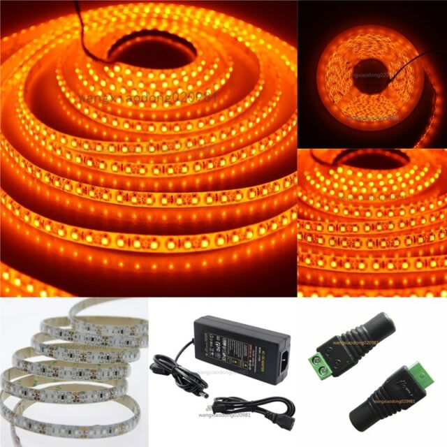 5M Orange 3528 SMD 120led/m Flex led Strip Light Lamp Waterproof & 12V 5A Power