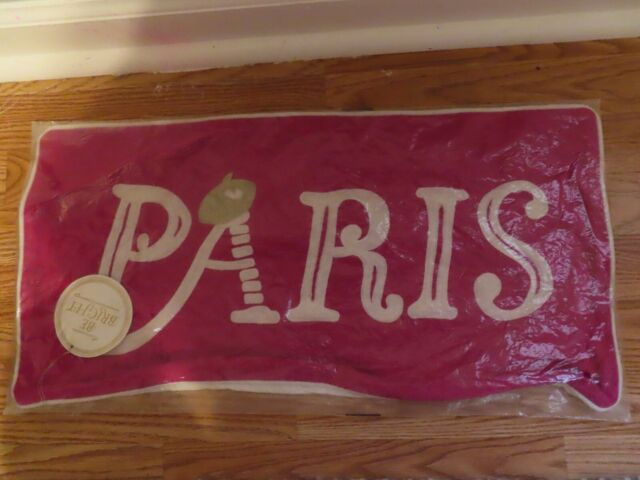 """POTTERY BARN TEEN 12"""" X 24"""" HOT PINK EMBROIDERED PARIS PILLOW COVER~NWT"""