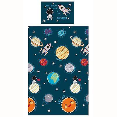 SOLAR SYSTEM JUNIOR DUVET COVER SET NEW SPACE BEDDING BOYS BLUE