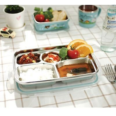 Stainless Steel Food Snack Tray Airtight lid hygienic Lunch Box Trays KIDS Dish