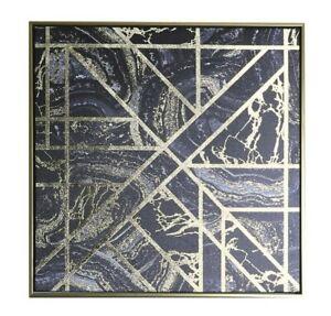 Black Gold Geometric Metallic Foil Marble Framed Canvas Print Wall Art Picture Ebay