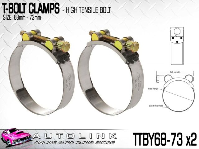 TRIDON T BOLT HOSE CLAMPS 68-73mm FOR TURBO PIPE & INTERCOOLER TTBY68-73 x2