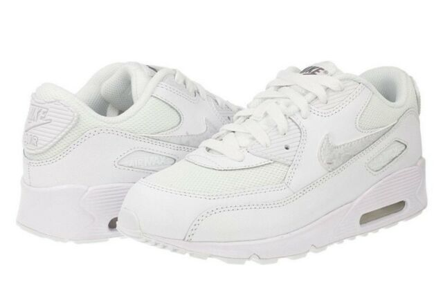 official photos 2001c e1c78 NEW Nike Air Max 90 Mesh Boys Kids PS Junior Running Trainers Shoes - All  White