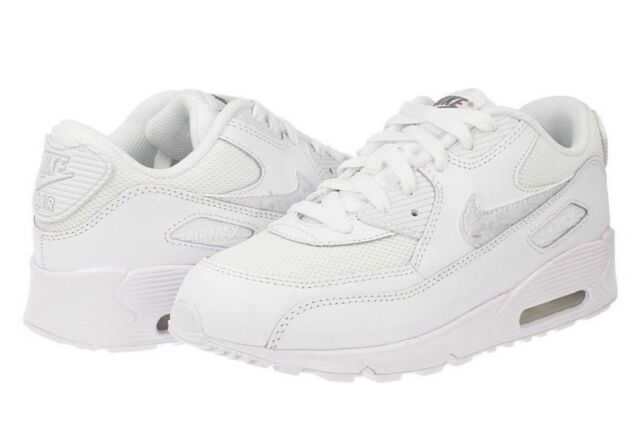 a34d34b59fe NEW Nike Air Max 90 Mesh Boys Kids PS Junior Running Trainers Shoes - All  White