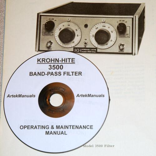 Krohn-Hite 3500 Band-Pass Filter Operating /& Maintenance Manual