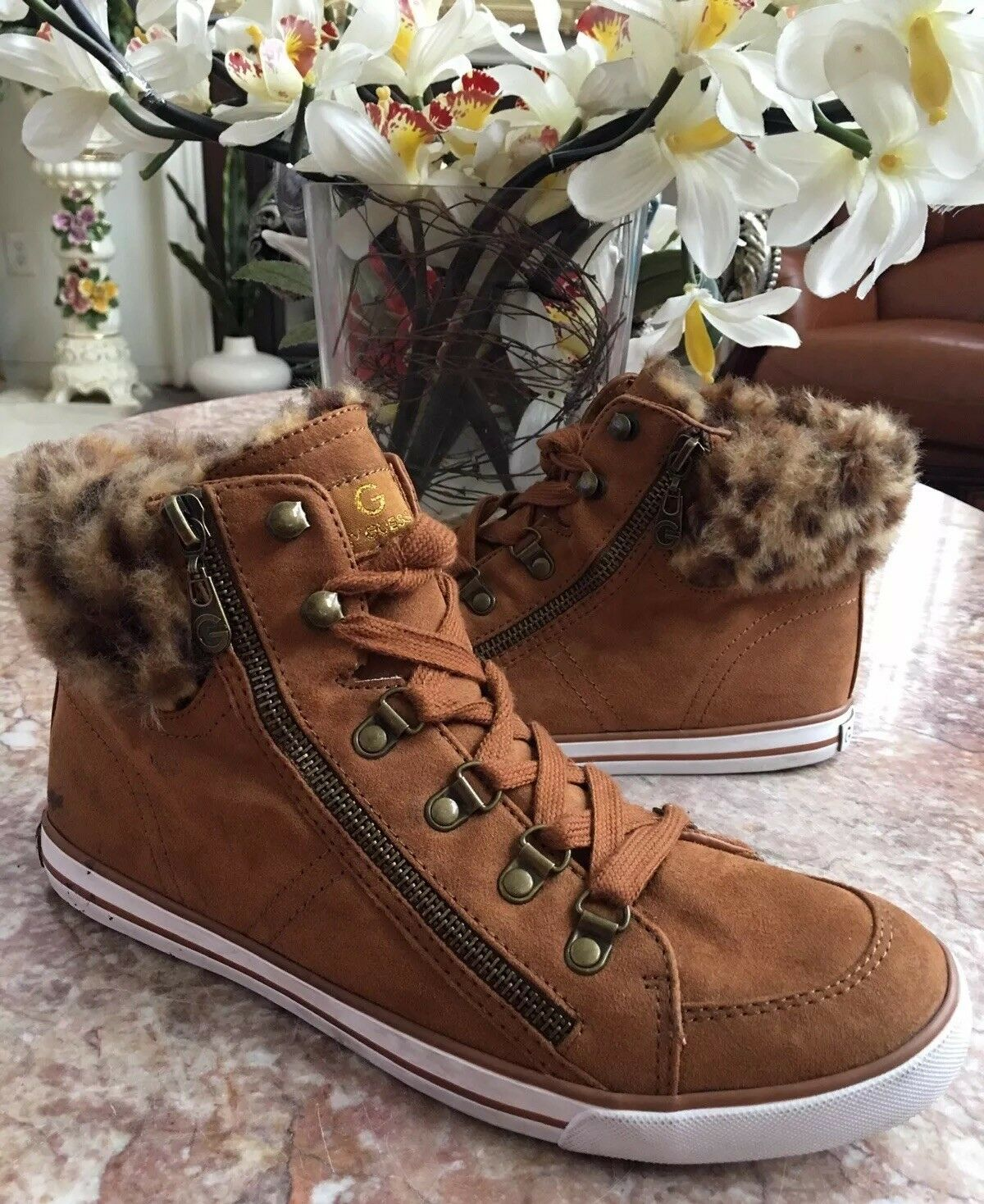 G by GUESS Oshay Hightop Women Tan Suede Faux Fur Sneakers Sz 9.5 EUC