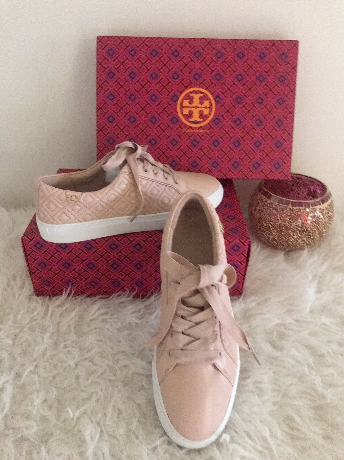 Tory Burch Marion Leather Quilted Lace Up Sneakers SACHET PINK US 8.5 9