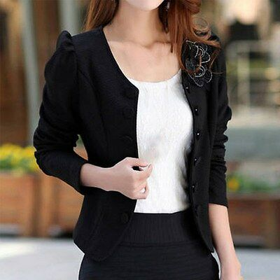 Fashion Lady Slim Solid Suit Blazer Jacket Coat Outwear Women Girls Candy Color