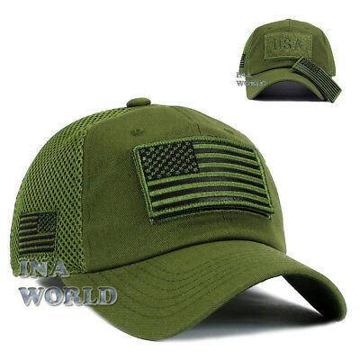USA American Flag Hat Detachable Patch Micro Mesh Tactical Military cap Olive