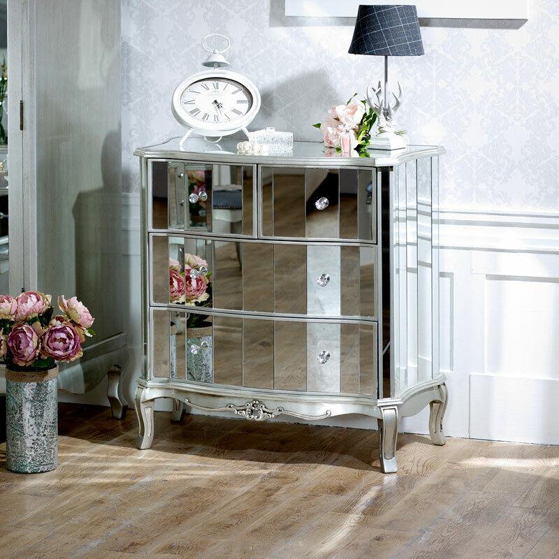 Espejo Cómoda Vintage Francés Cristal Plata Antigua Dormitorio de almacenamiento de información