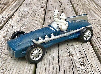 Michelin Man Bibendum Vintage Cast Iron Blue Race Car
