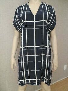 Vince-Vince-Camuto-Women-034-s-Navy-White-Silk-Dress-Tunic-Sz-S-New-NWOT-Stripes