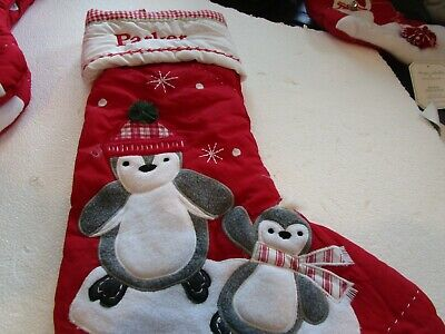 Pottery Barn Kids Quilted Penguins Penguin Christmas Mono