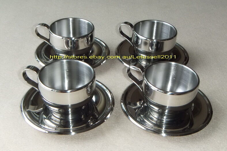 4 LUXURY STAINLESS STEEL DOUBLE-WALL COFFEE TEA CUPS & SAUCERS SET -3 TailleS
