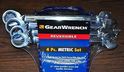 GearWrench 9601 4 Piece Metric Reversible Ratcheting Wrench Completer Set