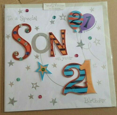 Pour une spéciale fils sur votre 21st Carte D/'Anniversaire 20 cm x 20 cm