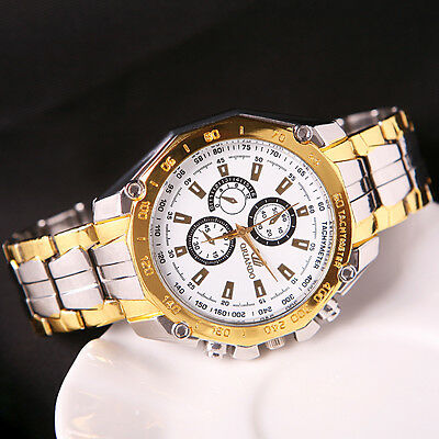 Men's Stainless Steel Watches Analog Quartz Movement Sport Wrist Watch New