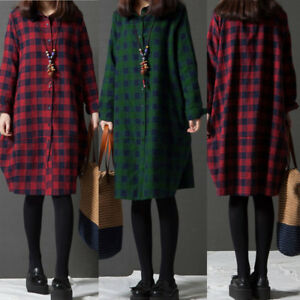 7ae46622bde Details about ZANZEA Women Oversized Buttons Down Check Loose Baggy Long  Tops Lady Shirt Dress