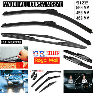 3x-Vauxhall-Corsa-C-MK2-Hatchback-Front-amp-Rear-Windscreen-Aero-Flat-Wiper-Blades