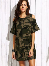 Olive Army Green Open Shoulder Short Sleeve Tunic Shift Mini Camo Dress One Size