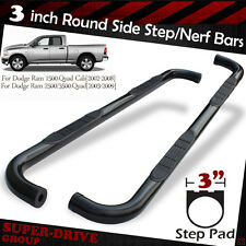 "03-09 DODGE RAM 2500/3500 Quad/Crew Cab 3"" Round Black Nerf Bars Side Step Board"