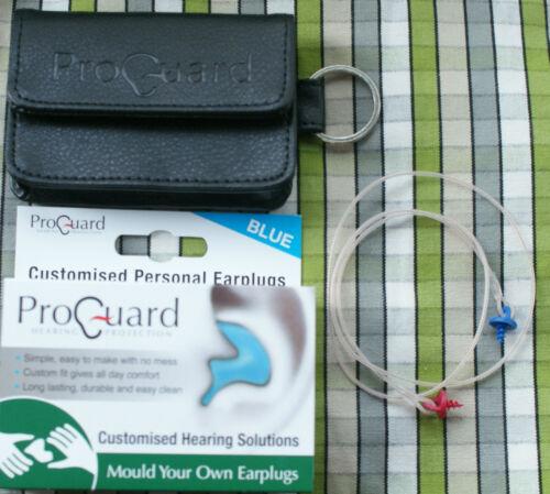 Proguard Mould Your Own MYO Earplugs Blue Red Beige Lanyard Leather case