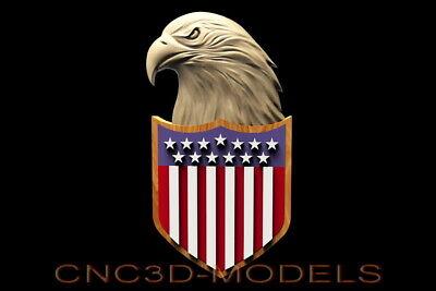 3D STL Model for CNC Router Carving Artcam Aspire USA Flag America Eagle D626