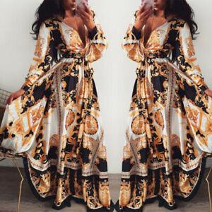 Style-Boheme-Long-Femmes-Sexy-Col-V-Plage-Ete-Imprime-Robe-Longue-Maxi