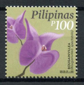 Filippine-2019-Gomma-integra-non-linguellato-FIORI-Definitives-buganvillea-1v-Set-Natura-FRANCOBOLLI
