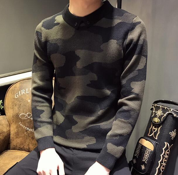Fashion Mens Camo Lapel Collar Sweater Winter Casual Slim Warm Knit Tops Ske15