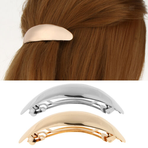 Shiny Metal Curved French Hair Barrette Ponytail Holder Hair Accessories