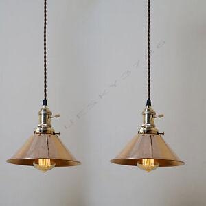 Details About 2 X Vintage Diy Copper Cone Ceiling Lamp Light Pendant Lightings